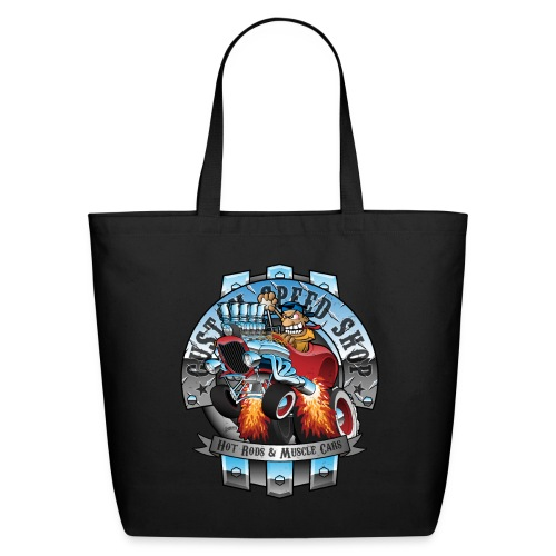 Custom Speed Shop Hot Rods and Muscle Cars Illustr - Eco-Friendly Cotton Tote