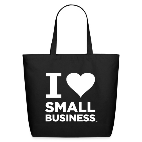 I Heart Small Business Logo (All White) - Eco-Friendly Cotton Tote