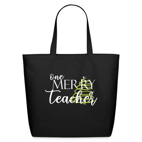 One Merry Teacher Christmas Tree Teacher T-Shirt - Eco-Friendly Cotton Tote