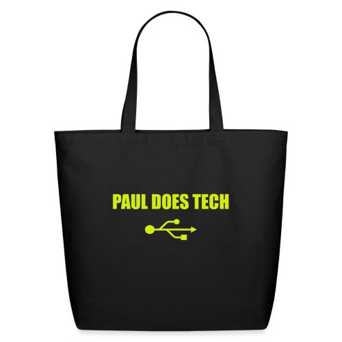 Paul Does Tech Yellow Logo With USB (MERCH) - Eco-Friendly Cotton Tote