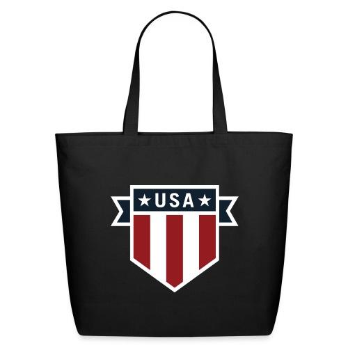 USA Pride Red White and Blue Patriotic Shield - Eco-Friendly Cotton Tote