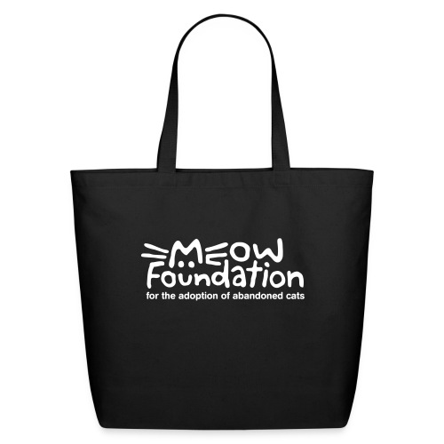 MEOW Foundation White Logo Tagline - Eco-Friendly Cotton Tote