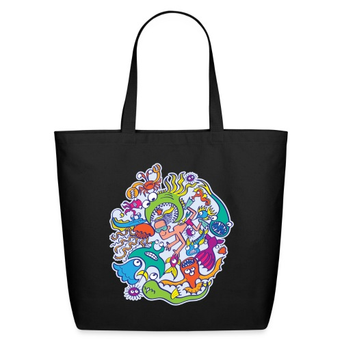 Summer swimming with weird dangerous sea creatures - Eco-Friendly Cotton Tote