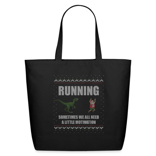 Ugly Christmas Sweater Running Dino and Santa - Eco-Friendly Cotton Tote