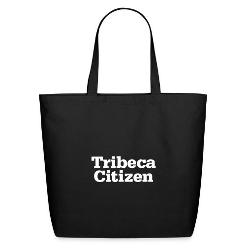 tribeca citizen stacked logo in white - Eco-Friendly Cotton Tote