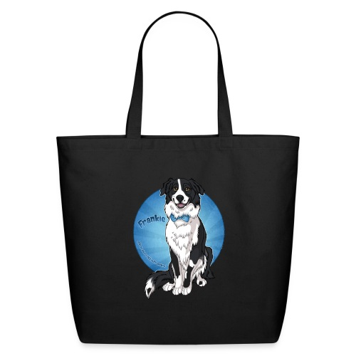 Border Collie Frankie Full Colour With Name - Eco-Friendly Cotton Tote