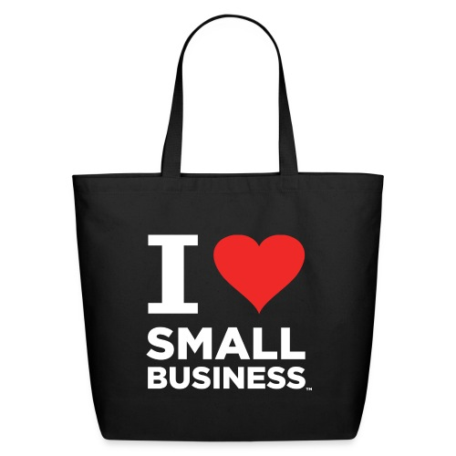 I Heart Small Business Logo (Red & White) - Eco-Friendly Cotton Tote