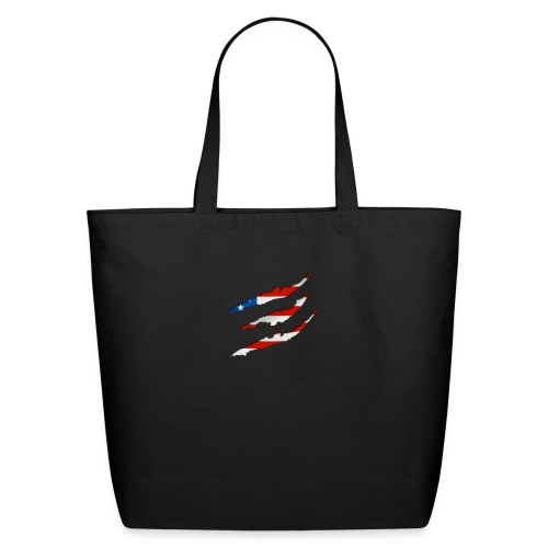 3D American Flag Claw Marks T-shirt for Men - Eco-Friendly Cotton Tote