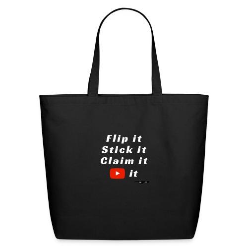 Flip It White Design T-Shirt - Back Flip Inverted - Eco-Friendly Cotton Tote