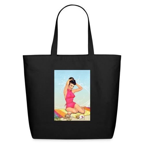 Girl in the sea, retro illustration - Eco-Friendly Cotton Tote