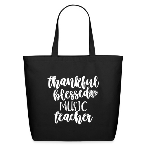 Thankful Blessed Music Teacher T-Shirt - Eco-Friendly Cotton Tote