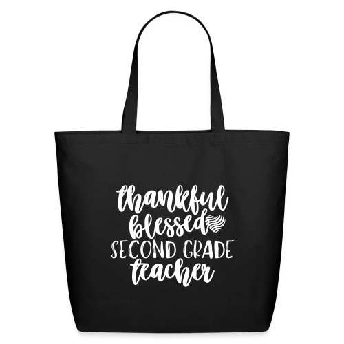 Thankful Blessed Second Grade Teacher T-Shirt - Eco-Friendly Cotton Tote