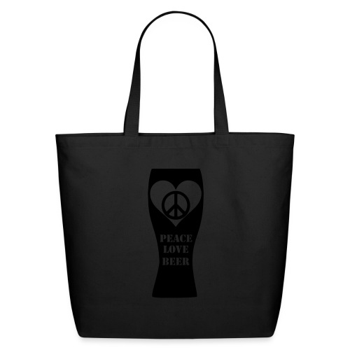 Peace Love Beer (Black) (Vector) - Eco-Friendly Cotton Tote