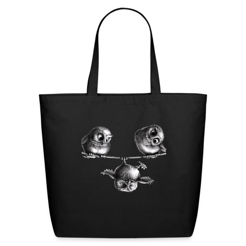three owls - freedom and fun - Eco-Friendly Cotton Tote