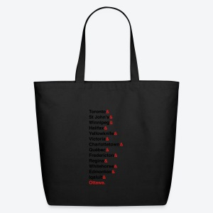 Canada's Capitals - Red & Black - Eco-Friendly Cotton Tote