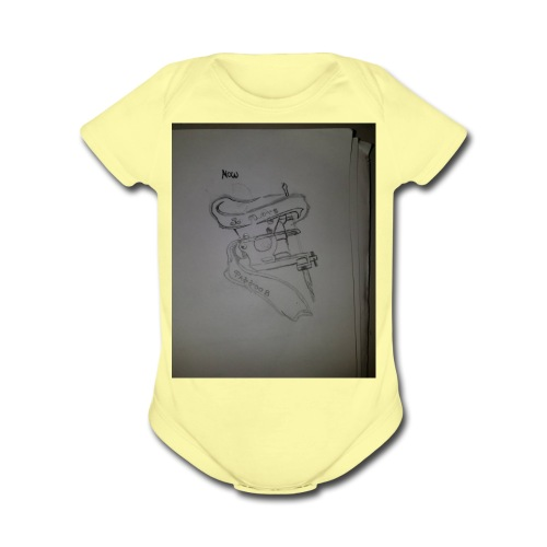 Tattoo Machine Hoodiez - Organic Short Sleeve Baby Bodysuit
