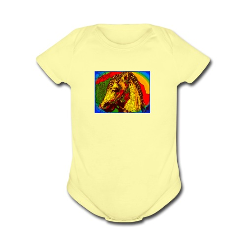 Rainbow Vintage Toy Riding Wonder Horse - Organic Short Sleeve Baby Bodysuit