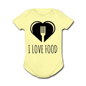 Funny Food Quote I Love To Eat - Heart, Fork Diet - Short Sleeve Baby Bodysuit