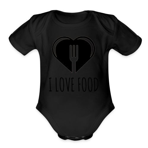 Funny Food Quote I Love To Eat - Heart, Fork Diet - Organic Short Sleeve Baby Bodysuit