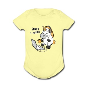 Sorry i'm busy, funny unicorn, music T Shirt - Short Sleeve Baby Bodysuit