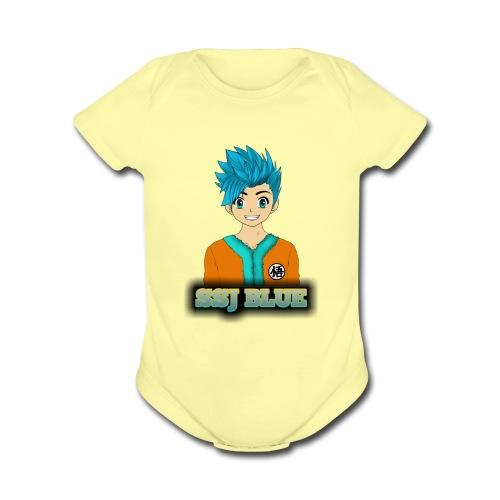 SSJ BLUE - Organic Short Sleeve Baby Bodysuit