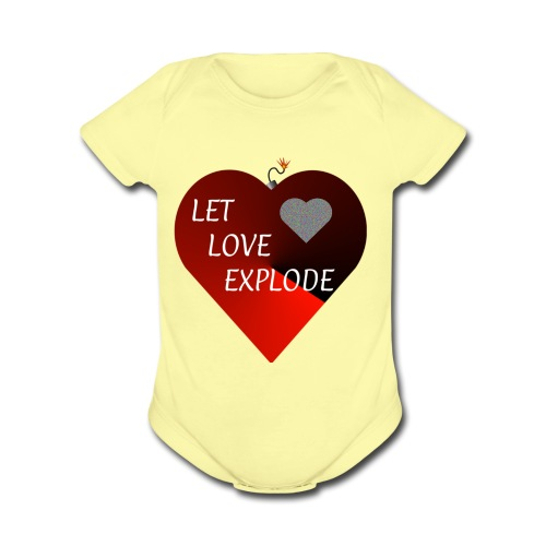 Let Love Explode Heart - Organic Short Sleeve Baby Bodysuit