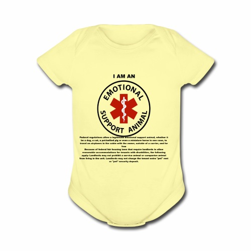 emotional support animal - Organic Short Sleeve Baby Bodysuit