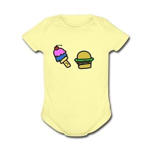 Ice Cream and cheeseburgers - Short Sleeve Baby Bodysuit