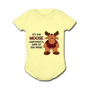 moose wonderful time of the year - Short Sleeve Baby Bodysuit