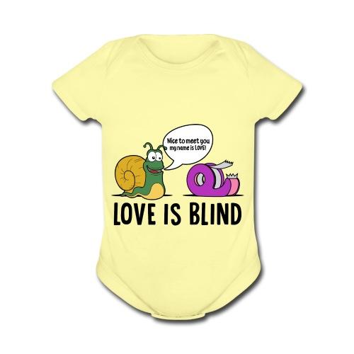 Love is blind design - Organic Short Sleeve Baby Bodysuit