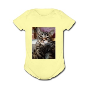 Eli the fat brown tabby - Short Sleeve Baby Bodysuit