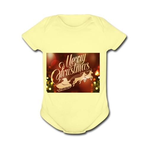 merry christmas 2015 carriage santa claus vector h - Organic Short Sleeve Baby Bodysuit