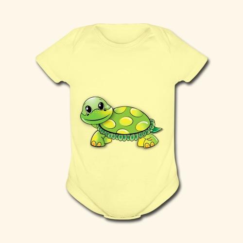 Green turtle cartoon - Organic Short Sleeve Baby Bodysuit