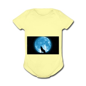 488234 wolf howling at the moon wallpaper 2560x144 - Short Sleeve Baby Bodysuit