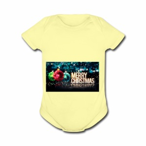 Merry Christmas Balls - Short Sleeve Baby Bodysuit