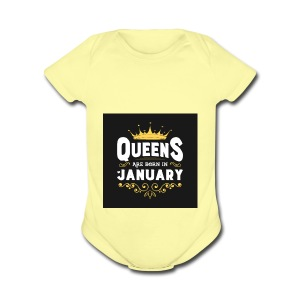 Queens are born in January - Short Sleeve Baby Bodysuit