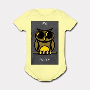 Fly Owl - Short Sleeve Baby Bodysuit