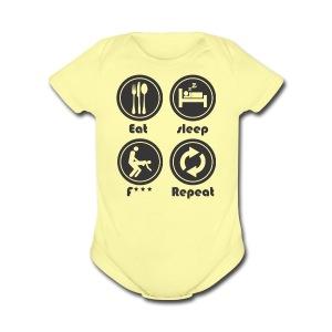 Eat Sleep F Repeat - Short Sleeve Baby Bodysuit