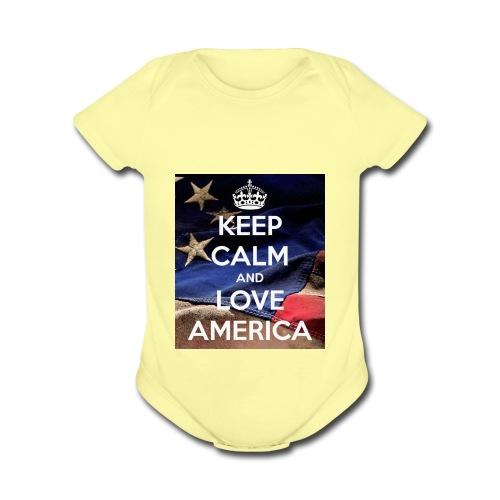 Keep calm and love America - Organic Short Sleeve Baby Bodysuit