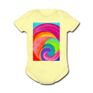 Colorful rainbow swirl - Short Sleeve Baby Bodysuit