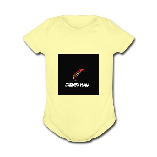 Conrad's vlogs t-shirt - Organic Short Sleeve Baby Bodysuit