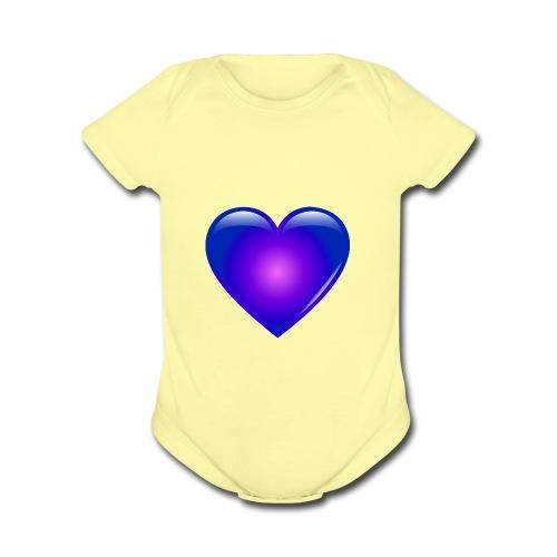 Blue Heart - Organic Short Sleeve Baby Bodysuit