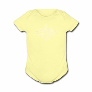 damask ornament no. 01 - white marble texture - Short Sleeve Baby Bodysuit