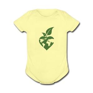 Heart, World, Grow - Short Sleeve Baby Bodysuit