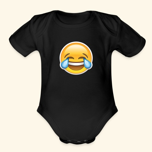 Face with Tears of Joy design PNG - Organic Short Sleeve Baby Bodysuit