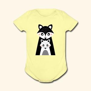 Mama and little fox - Short Sleeve Baby Bodysuit