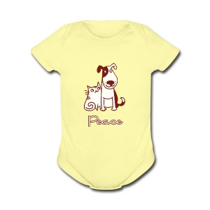 Dogs, cats, peace - Short Sleeve Baby Bodysuit
