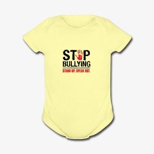 stop bullies..speak up - Short Sleeve Baby Bodysuit