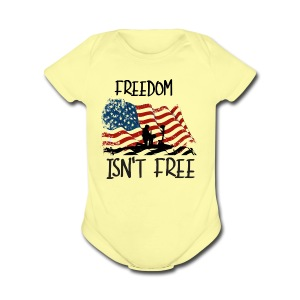 Freedom isn't free flag with fallen soldier design - Short Sleeve Baby Bodysuit
