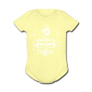 Coffee Blood Type | White Letters - Short Sleeve Baby Bodysuit